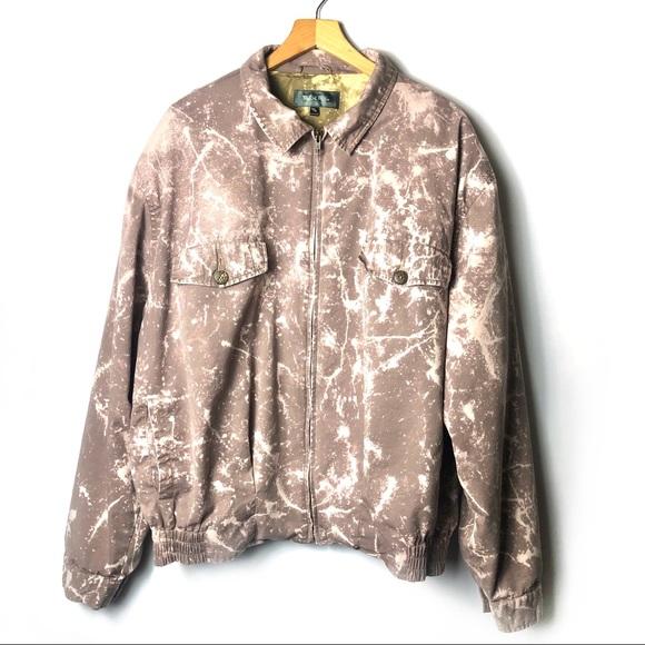 Vintage Jackets & Blazers - Vintage 90s Bleach Dyed Splatter Zip Bomber Jacket